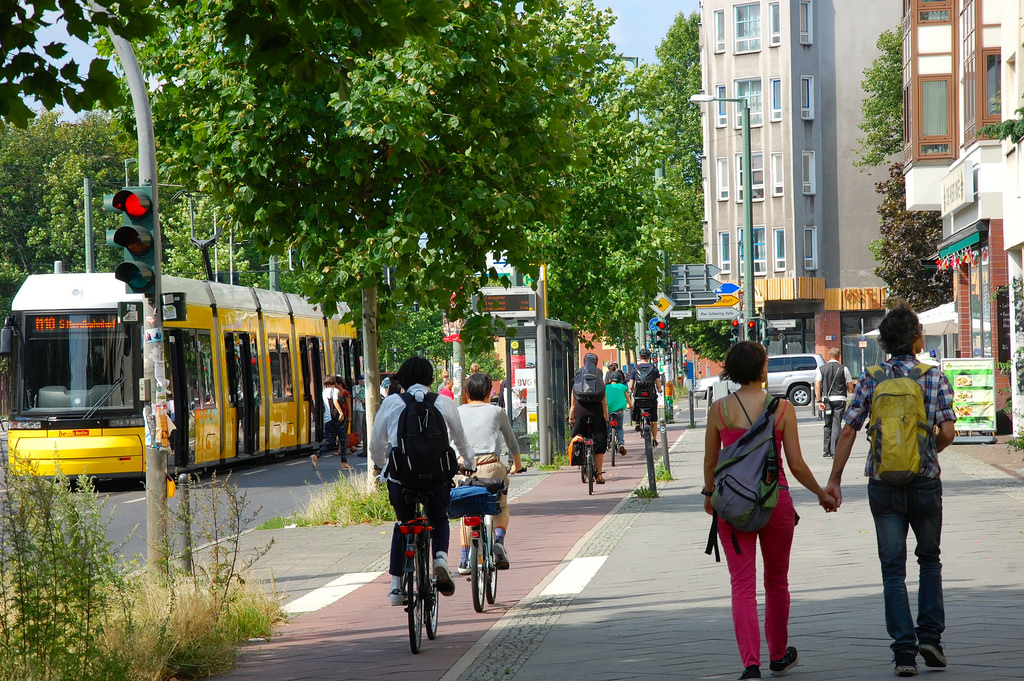 An example of a complete street where the needs of all users are taken into account.  Source:    Eric Sehr