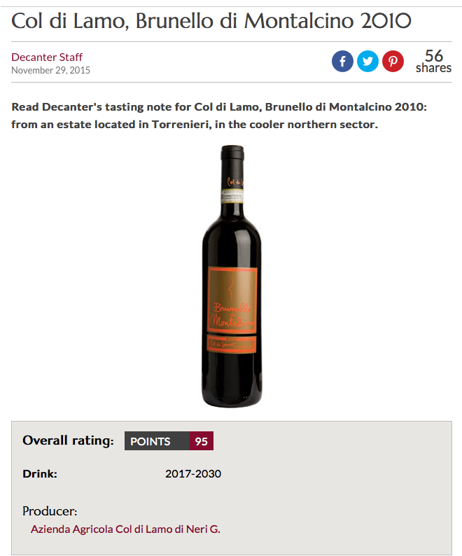 95 points on Decanter
