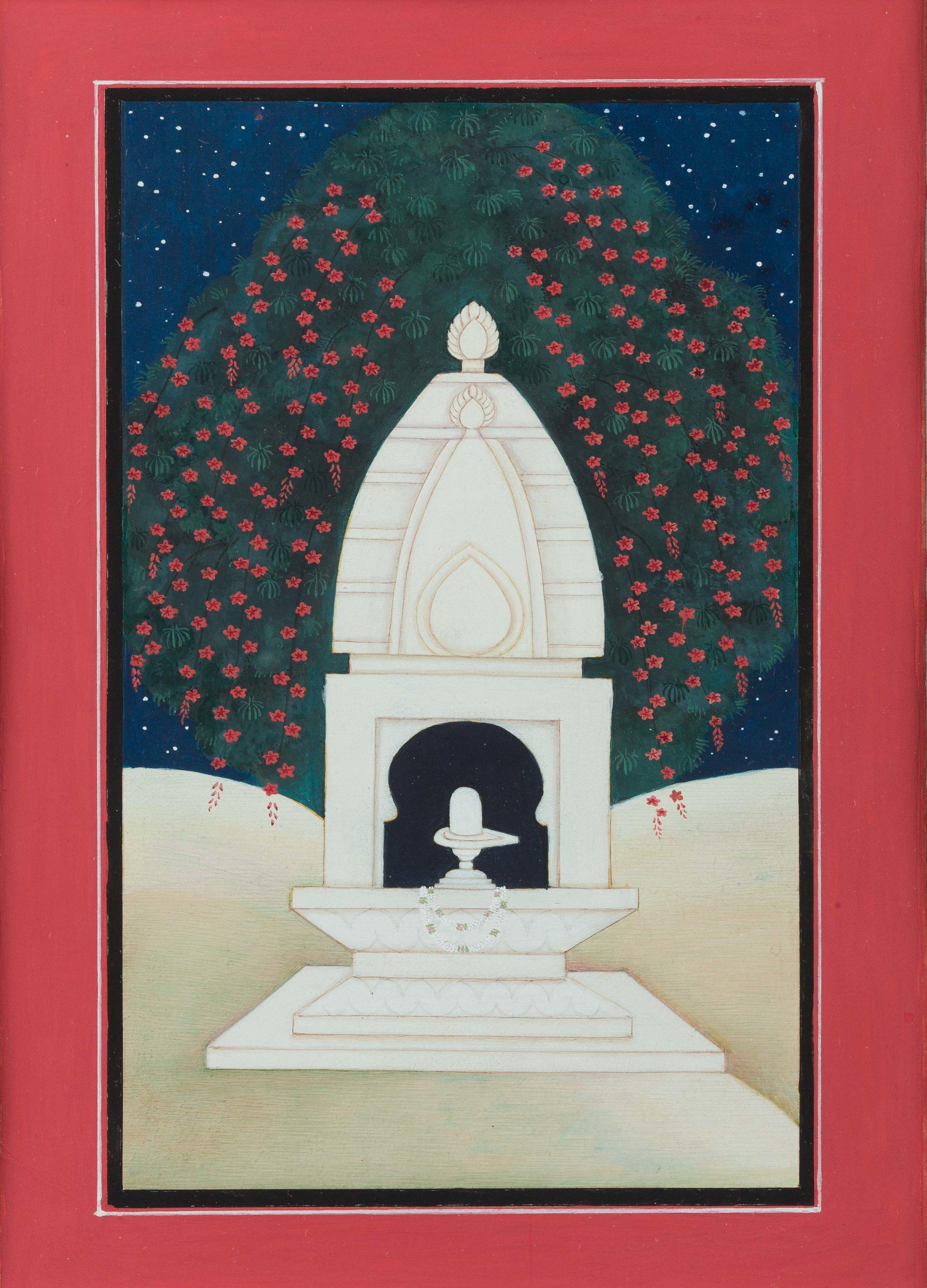 "Susana Marin , Shiva Lingam,  Gouache on Vasli, 2016, 11"" x 14"""