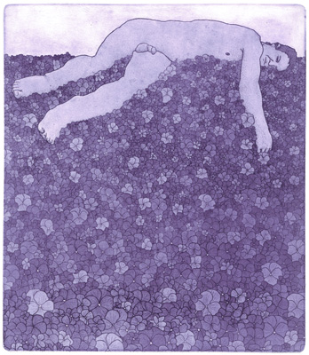Damon Kowarsky,  dream of violet,  etching and aquatin,  26 x 30 cm, 2019. Instagram:  @damonkowarsky