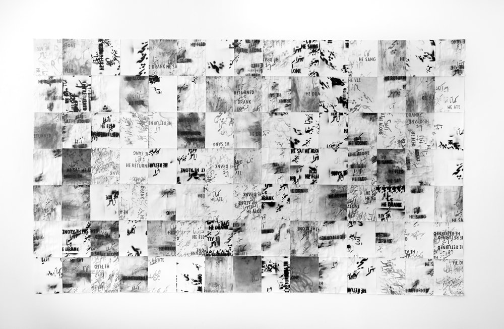 Sa'dia Rehman,  Bul Bul ka Bacha, A Rhyme , 2016, graphite, black spray paint and ink on paper, 96 x 110 inches Instagram:  @sasasare