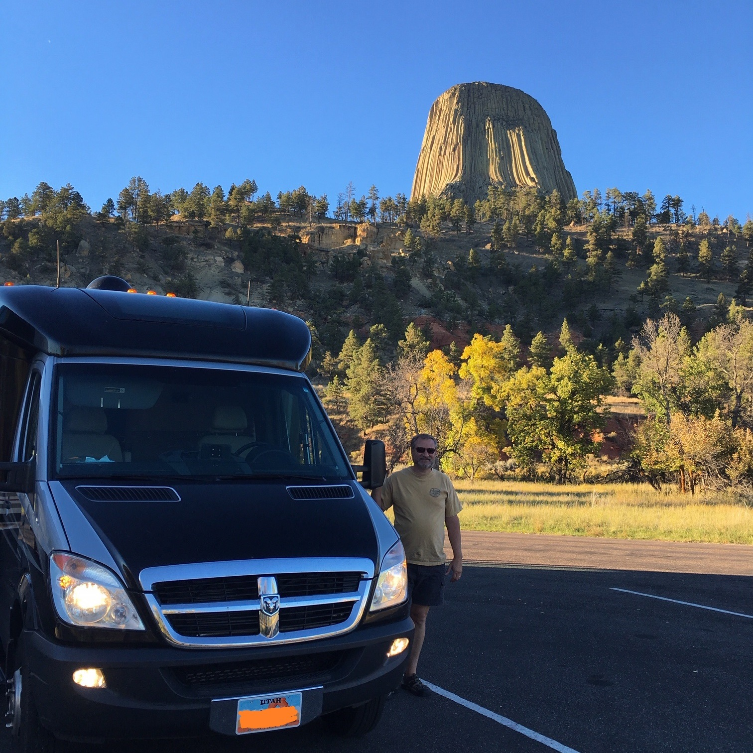 My husband and travel companion, Martin, in front of Devil's Tower in northeastern Wyoming.