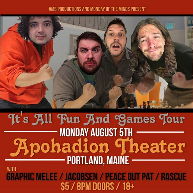 Catch me Monday August 5th at @theapohadion in Portland, Maine for night 4 of the It's All Fun And Games Tour - #itsallfunandgames #tour #portlandmaine #monday #hiphop #tour #ontheroad #misterburnsvt