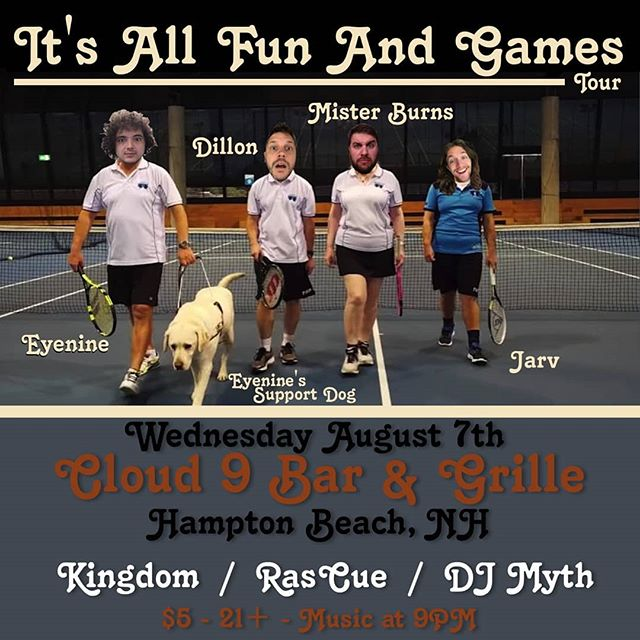 It's going down at @c9barandlounge August 7th in Hampton Beach, NH for the All Fun And Games Tour. - #itsallfunandgames #tour #hiphop #music #misterburnsvt #jarv #dillon #eyenine #kingdom #hamptonbeach #newhampshire #livemusic #liveshows #seacoast #wednesday
