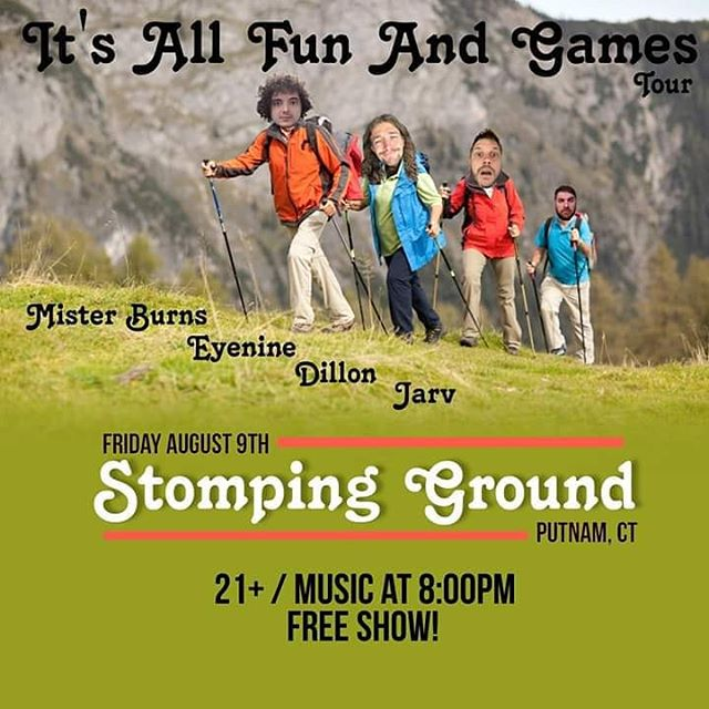 We are climbing over the hill to rock @the_stomping_ground in Putnam, CT tonight! - #itsallfunandgames #itsallfunandgamestour #putnam #connecticut #fridaynight #tour #tourlife #hiking #hikingadventures #crew