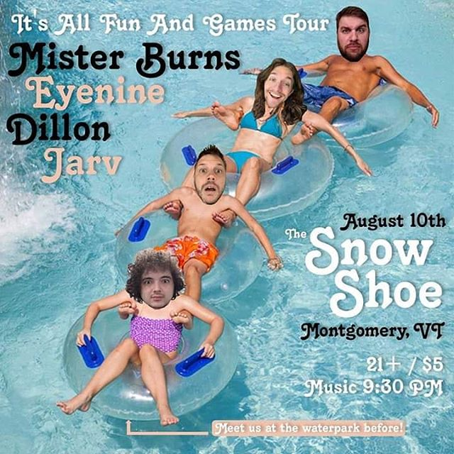 Tonight! We are rocking @snowshoelodgeandpubvt in Montgomery, VT for night 9 of the All Fun And Games Tour. About to hit that lazy river before too. - #itsallfunandgames #itsallfunandgamestour #hiphoptour #vermont