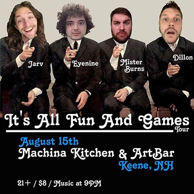 Tonight the All Fun And Games Tour hits @machina.kitchen.artbar in Keene, NH. Music at 9PM. - #itsallfunandgames #itsallfunandgamestour #tour #hiphop #keene #newhampshire #machinaarts #fun #thursday #liveshows #livemusic