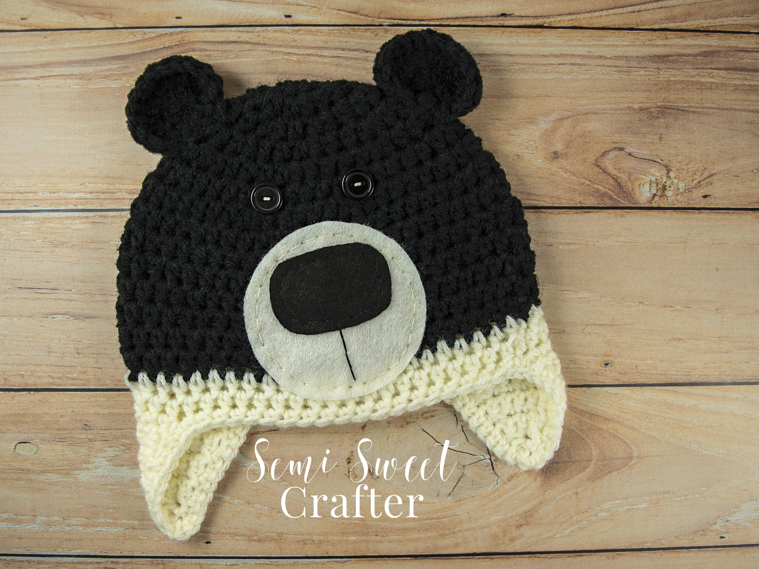 Free Crochet Black Bear Hat Pattern