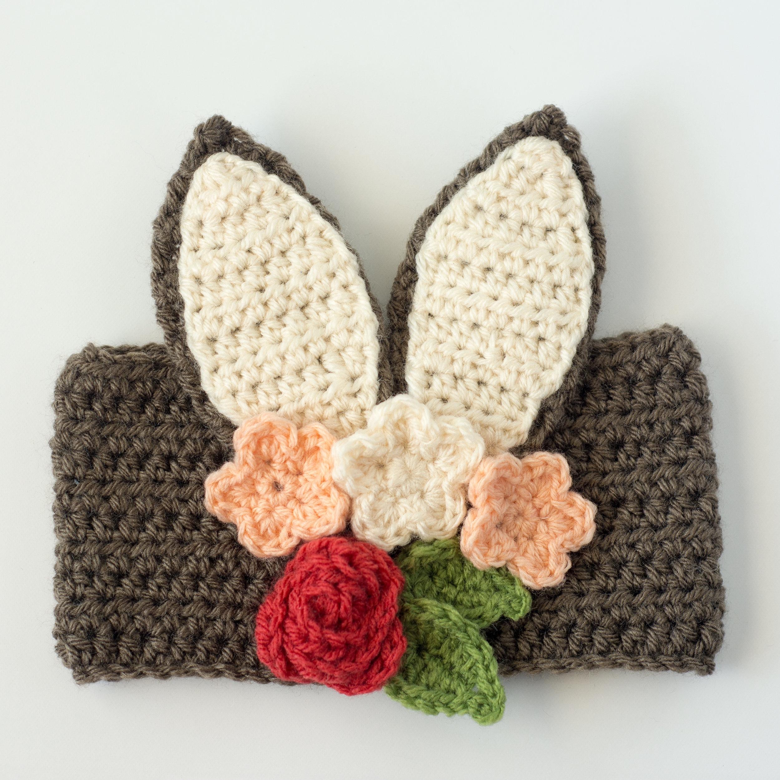Free Crochet Floral Bunny Headband Pattern -