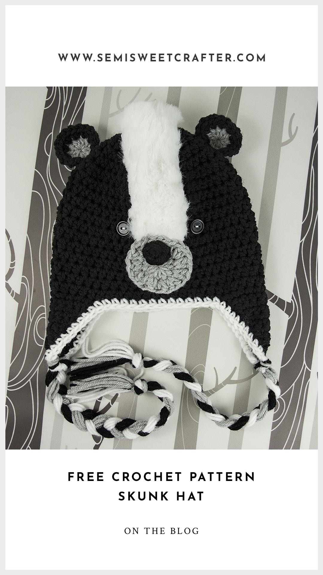 Free Crochet Skunk Hat Pattern