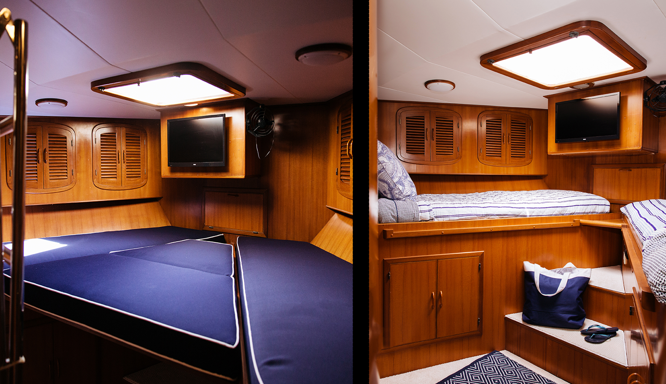 V-berth easily transforms from twin beds to king bed