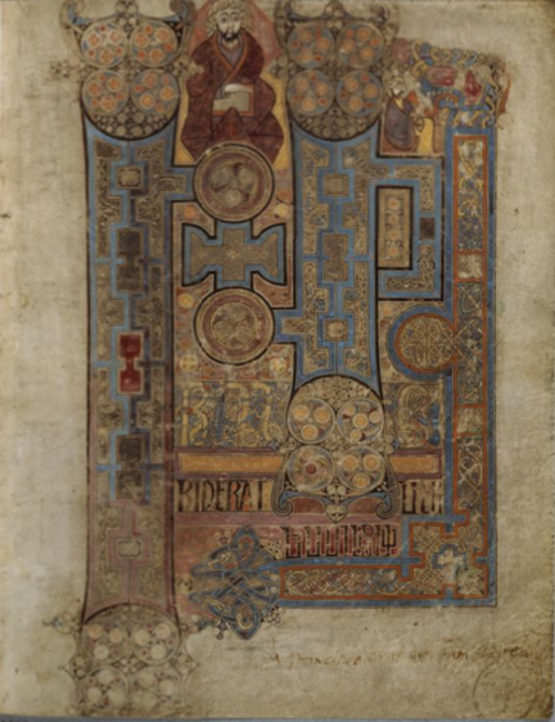 Book of Kells -Gospel of John, In the beginning was the Word, and in the Word [was with God] - source