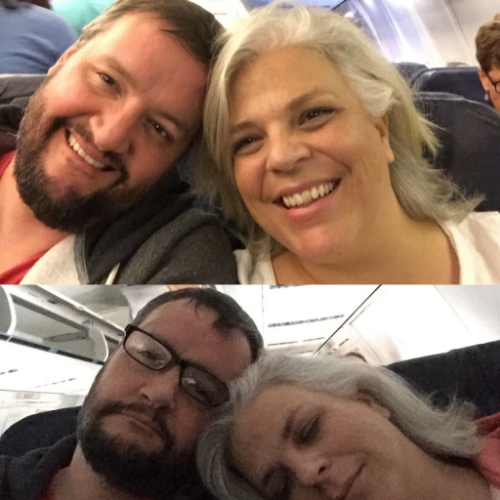photo one: just before take-off from JFK, exhausted from packing up our house in ATX, driving across the country, and seeing our kids off to several corners of the world  photo two: truly, truly exhausted while detained on an airplane for hours