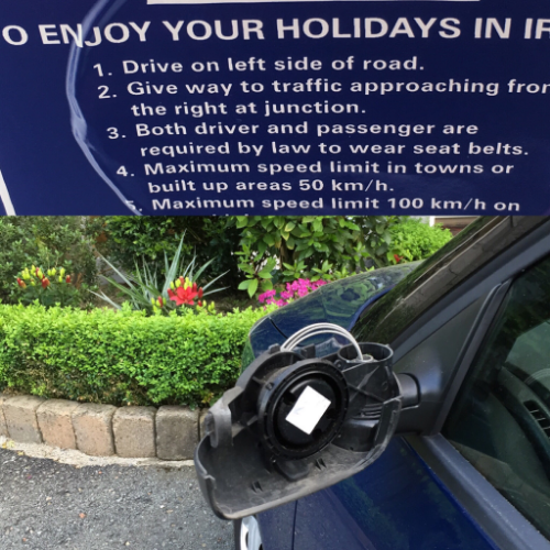 top: some cheery driving encouragement from our rental co.; bottom: our passenger-side mirror about 1 hour after getting our car.  We had been disheartened about the cost of insurance - until this exact moment.