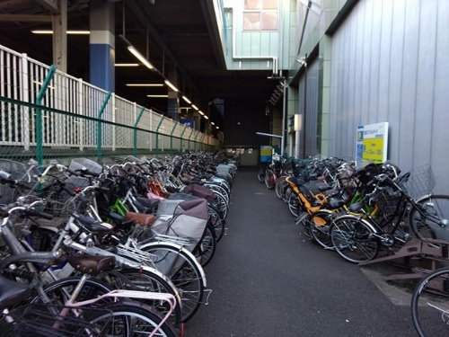 Only a fraction of the bicycles parked at our small train station.