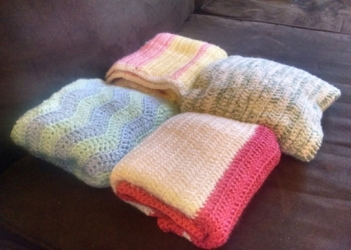 As a way to grieve the loss of the four little ones we lost through miscarriage,, I decided to make four baby blankets in their honor and donate them to the Life Choices Center. I honor the lives of my little ones with this small gesture, and lift my ache to the God of Hope who is so present with us.