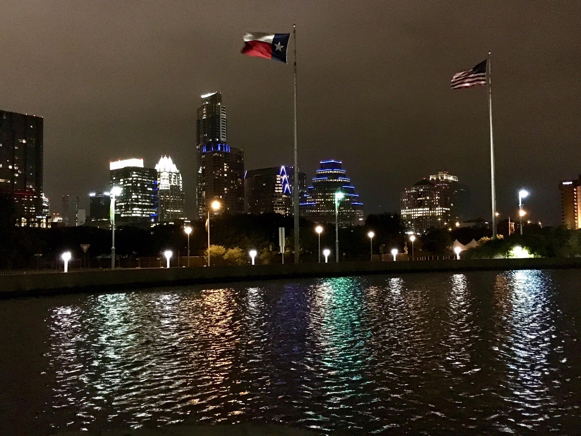 a breezy, quiet evening stroll near the Long Center