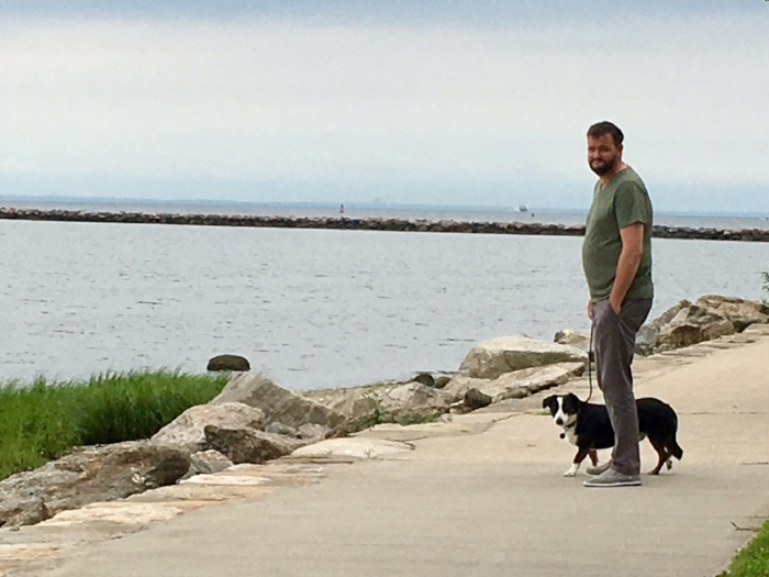 Walking the dog in Seaside Park two blocks away from our new apartment.