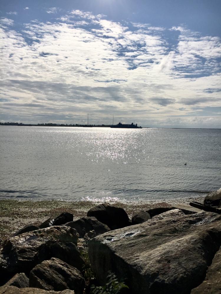 Morning Prayer at Seaside Park, Bridgeport (that's the Long Island Ferry)