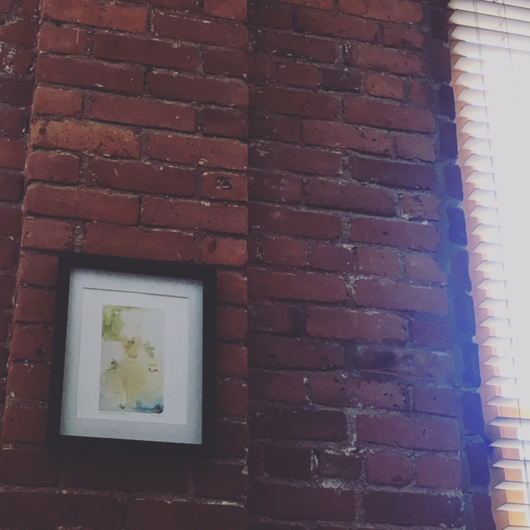 """Mid-Day Prayer in my Living room with Phaedra Taylor's print ("""" CLasp Hands in times of Trouble """")"""