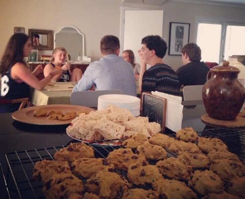 2 years ago - Milk & cookie party on first day of Natalie's senior year (at our house in Austin).