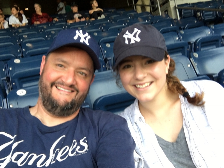 Brian and Natalie (age 19) at Yankees Stadium, June 2017.