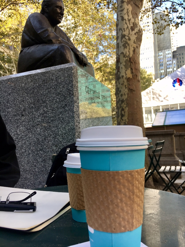On Fridays Brian writes sermons and I write, well, other stuff. Sometimes we do this from home and sometimes we go somewhere else for a change of scenery. Last week it was Bryant Park in midtown Manhattan, under the watchful gaze of Gertrude Stein.