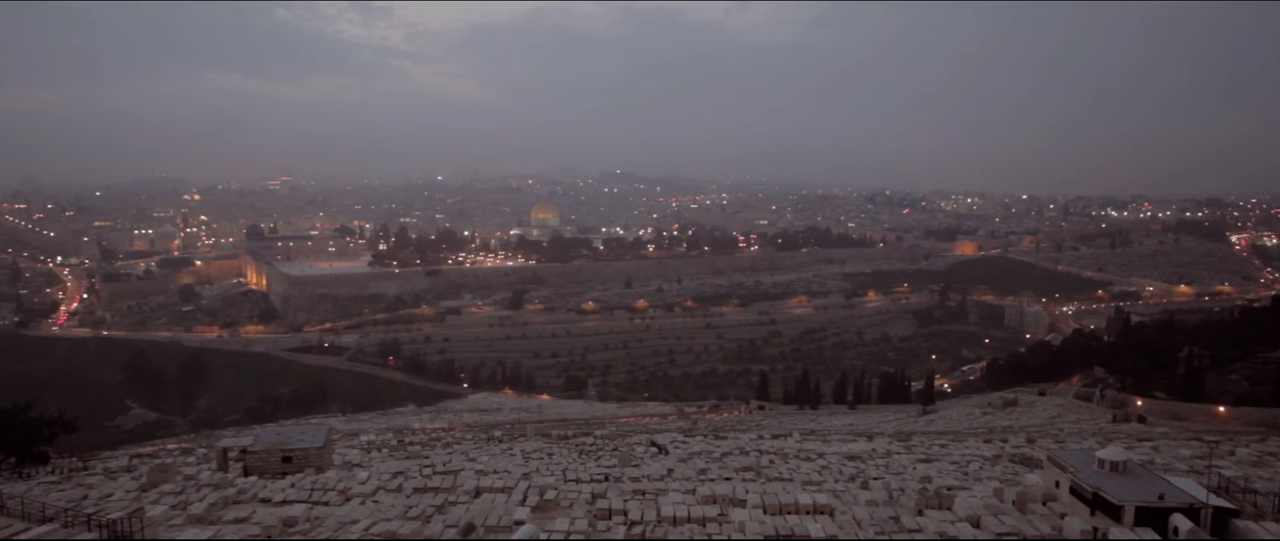 """Jerusalem and surrounding areas, screenshot from the music video by The Brilliance, """"Yahweh"""""""