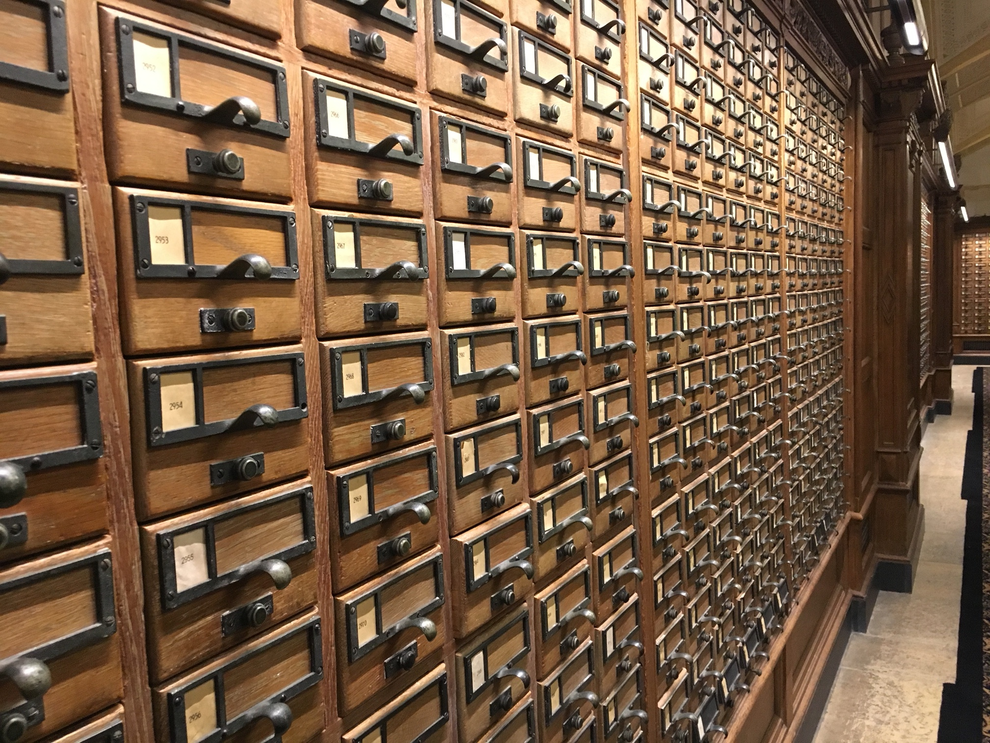 We visited Yale's  Sterling Memorial Library  in March. Wals and walls of catalog drawers - oh my....