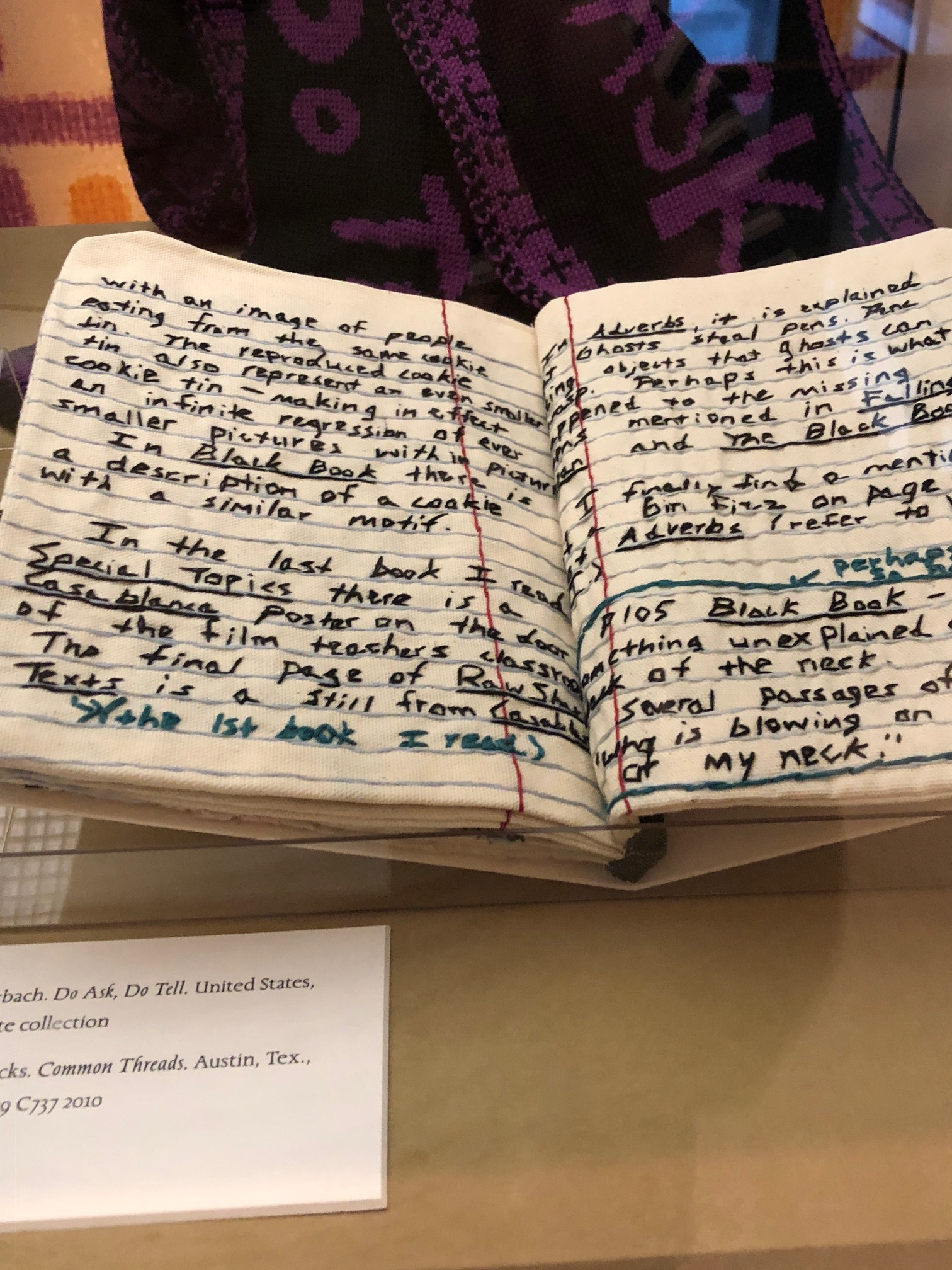 We visited Yale's  Text and Textiles exhibit  at the Beinecke Library in July. This piece intrigued me (from an Austin artist!).