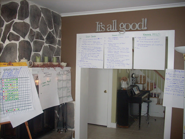 January 2010: charts representing the timeline of Brian's life and our search to know God's calling for his life..