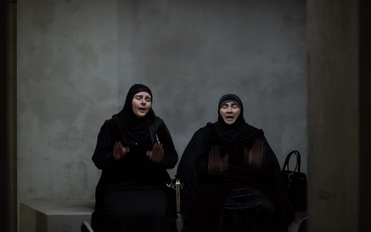 Haji Rahila Jafarova and Lala Ismayilova are professional Yezidi mourners from Azerbaijan. Photo: Hugo Glendinning, courtesy Artangel and Taryn Simon Projects.   Source  [ H/T }