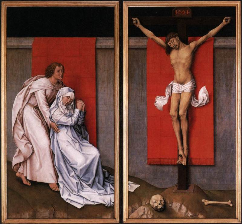 Christ on the Cross with Mary and St. John  (diptych), Rogier van der Weyden   Source