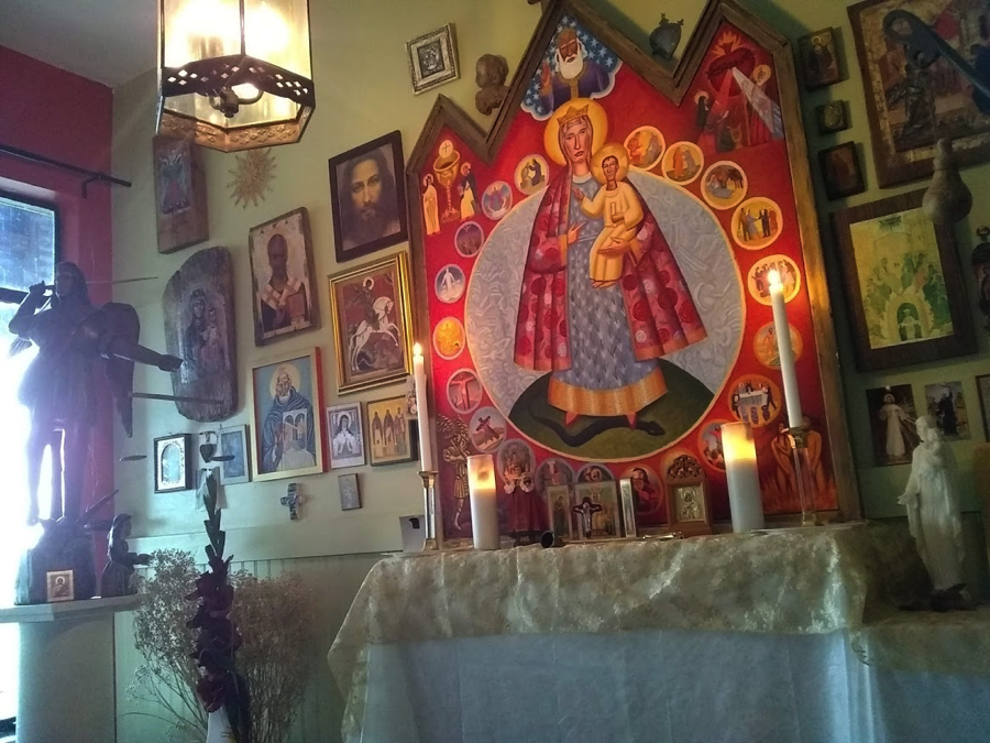 """- We have a place to pray that reminds us that it is not just """"me and Jesus"""" but Jesus, us, and our many friends we have made that are not bound by time or space. Some of these icons we made, some we bought, and many are gifts from friends."""