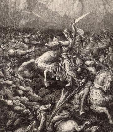 Charlemagne in battle.
