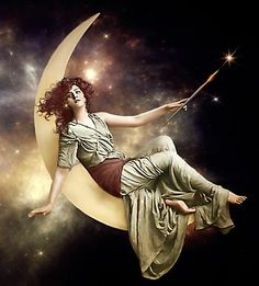 Moon Goddess sitting high above earth.