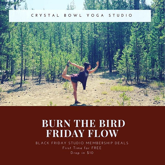 Join me tomorrow for a sweaty flow! Let's burn the bird!! @crystalbowlfloats 6:45 am Sunrise Flow and 8:15 Beginner Yoga 🧘🏻♀️