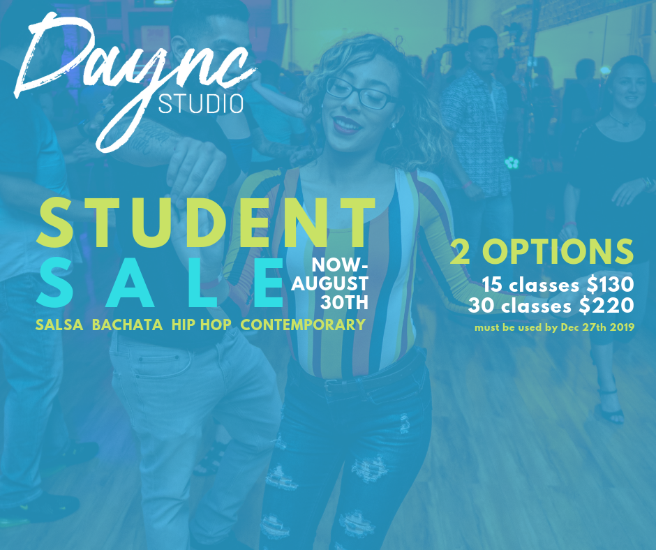 PRICING OPTIONS - 15 classes - $13030 classes - $220ONLY 20 PASSES available for each pass optionOur normal class purchase options are:1 class for $154 classes for $50 (Hip Hop)4 classes for $75 (Salsa and Bachata)