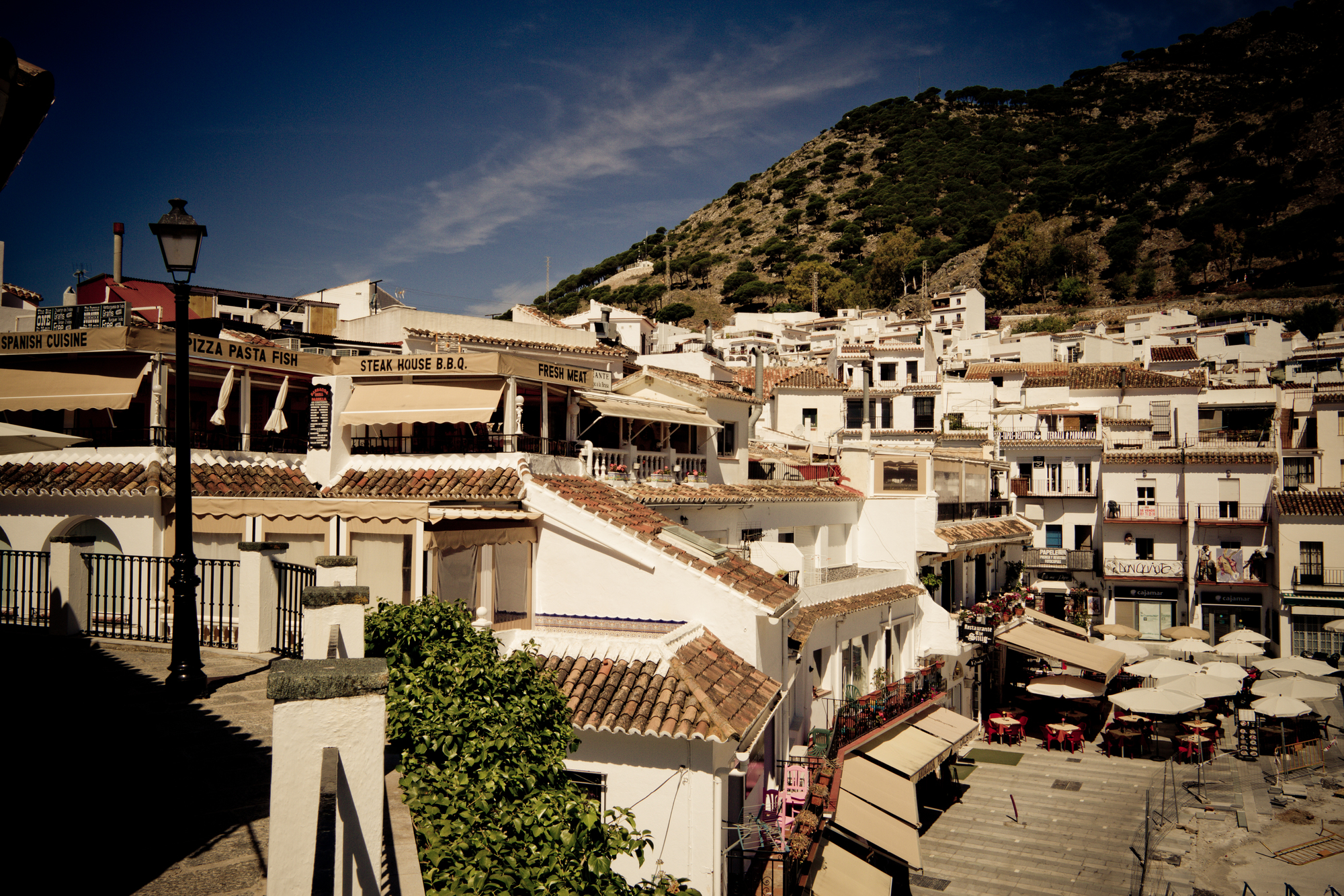 Mijas is a very beautiful city, narrow streets painted in white, small coffee shops and restaurants