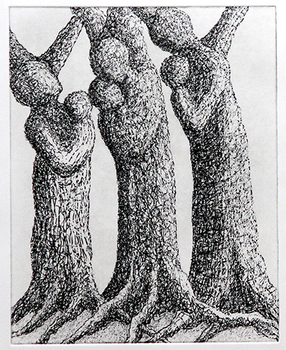 Tree Women with Babes  14 X 10