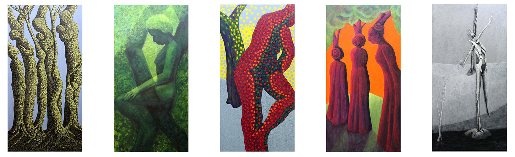 Woman Painting Series  each 48 X 24