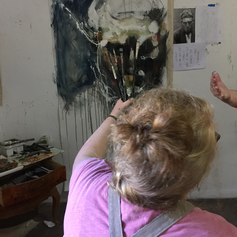 Gillian painting in the Painting Big workshop in Spain in September.