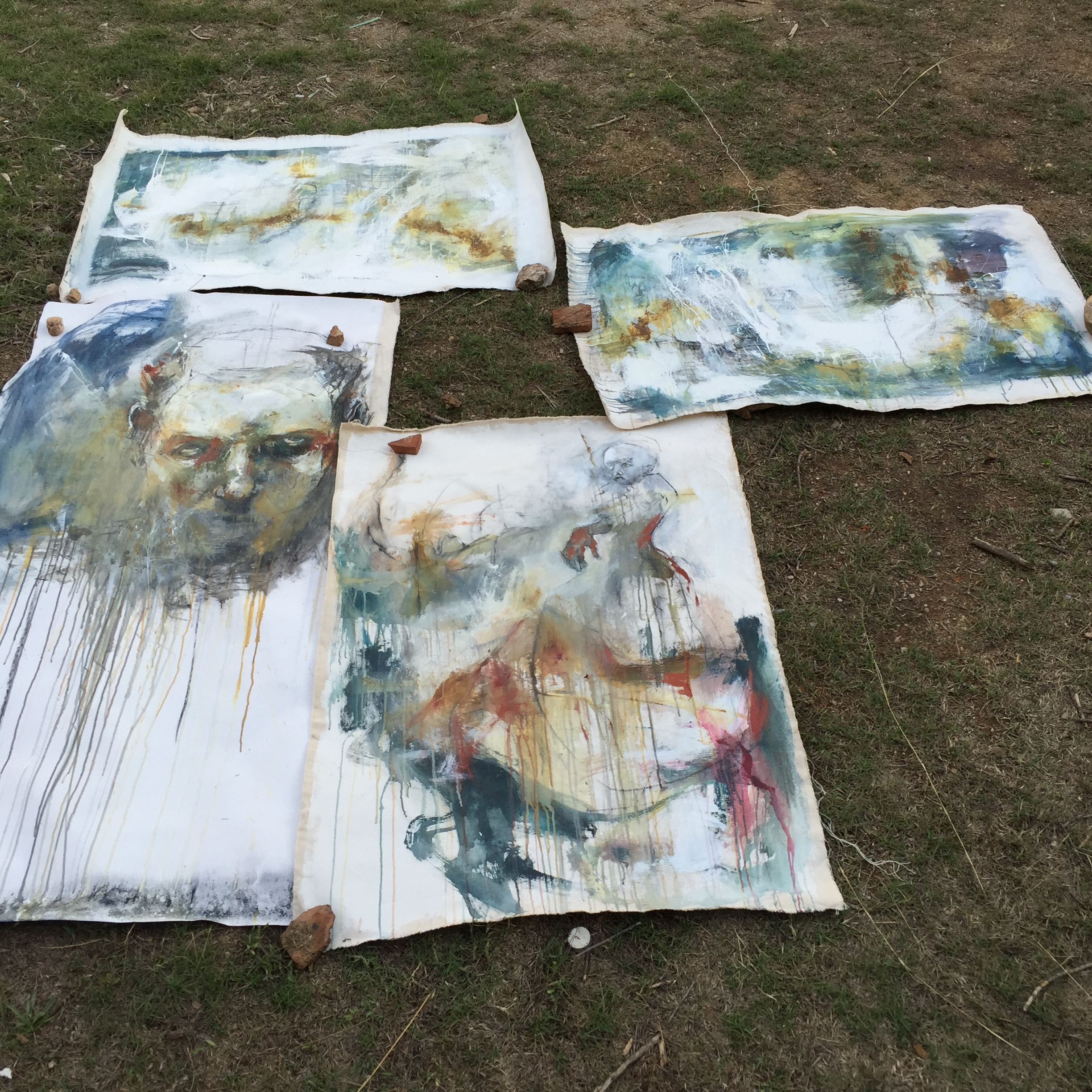 Some of Gillian's work from the week of painting.