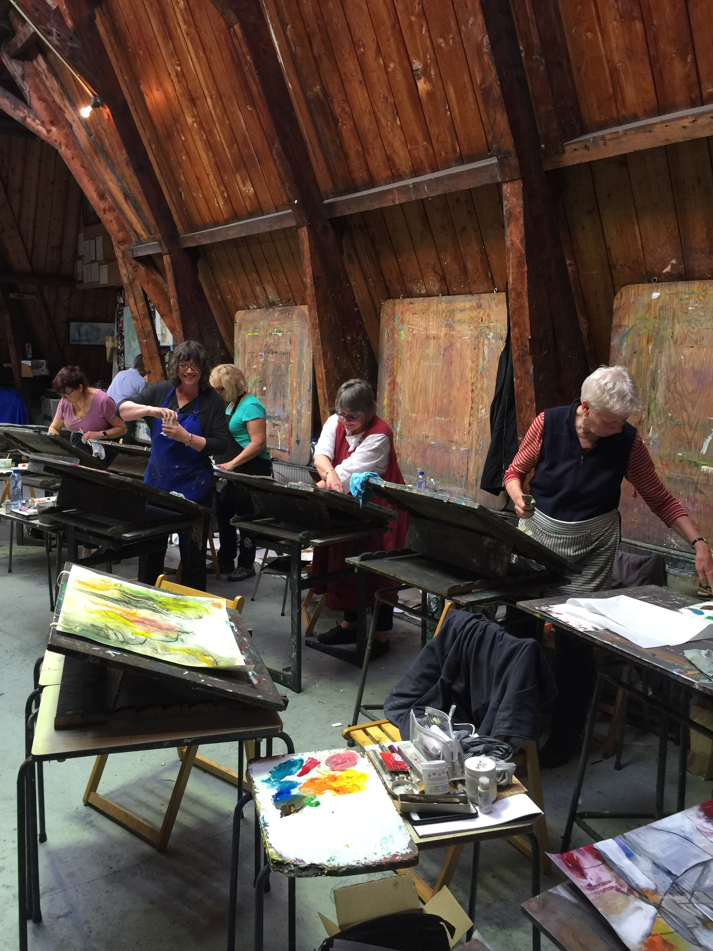 Some of the artists from Free Spirits Bellissima Art Escape enjoying their time in the studio
