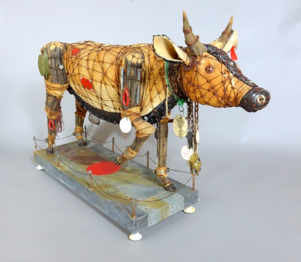 Geoffrey's large scale cow. He is often influenced by the countries he visits.