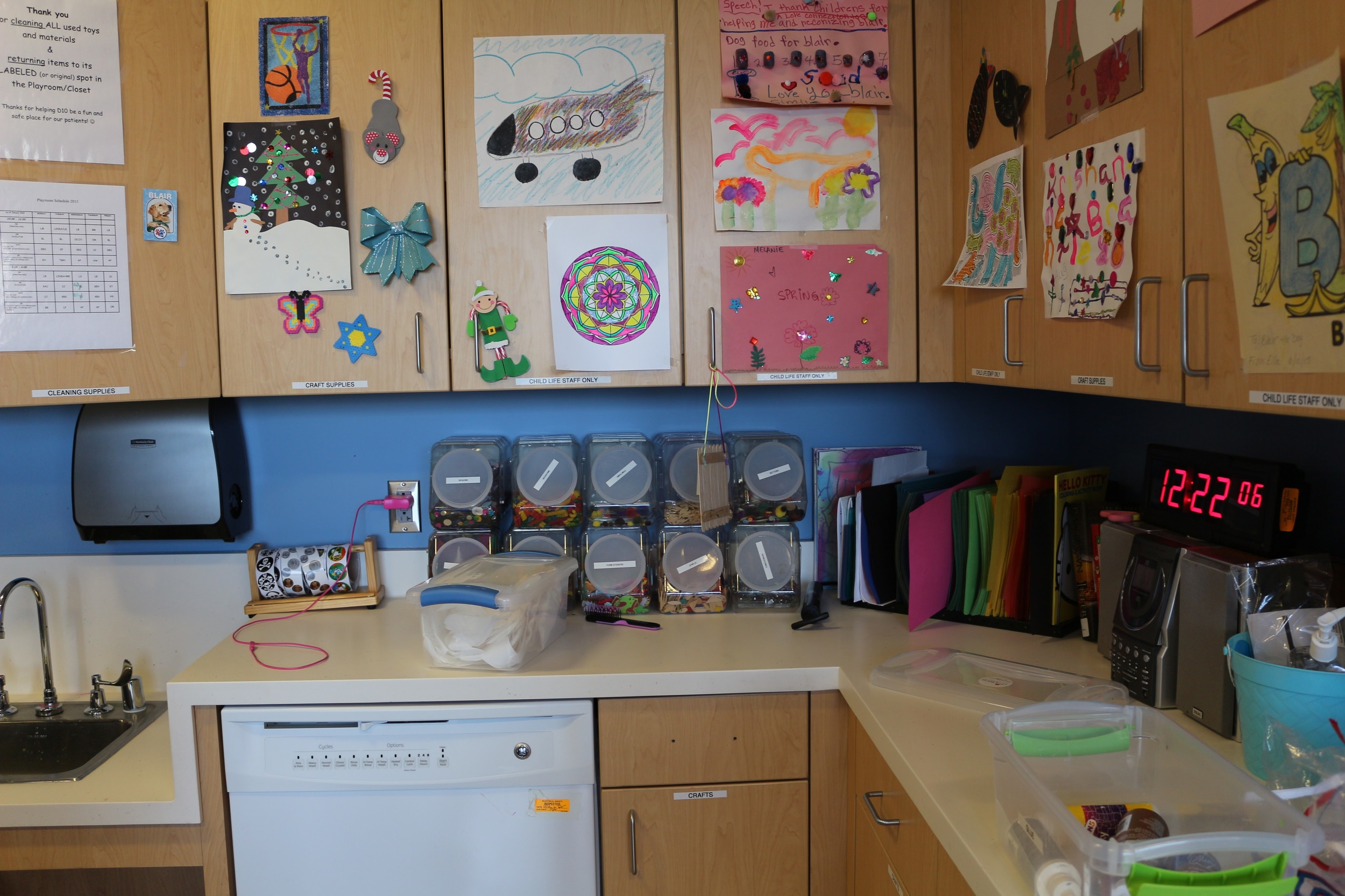 Lots of arts and crafts supplies are available to patients should they choose to pursue those kinds of activities