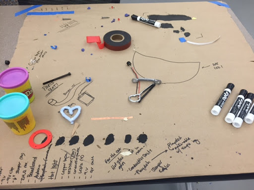 Playing with conductive paint to build hands-on experiences for our electronics module.