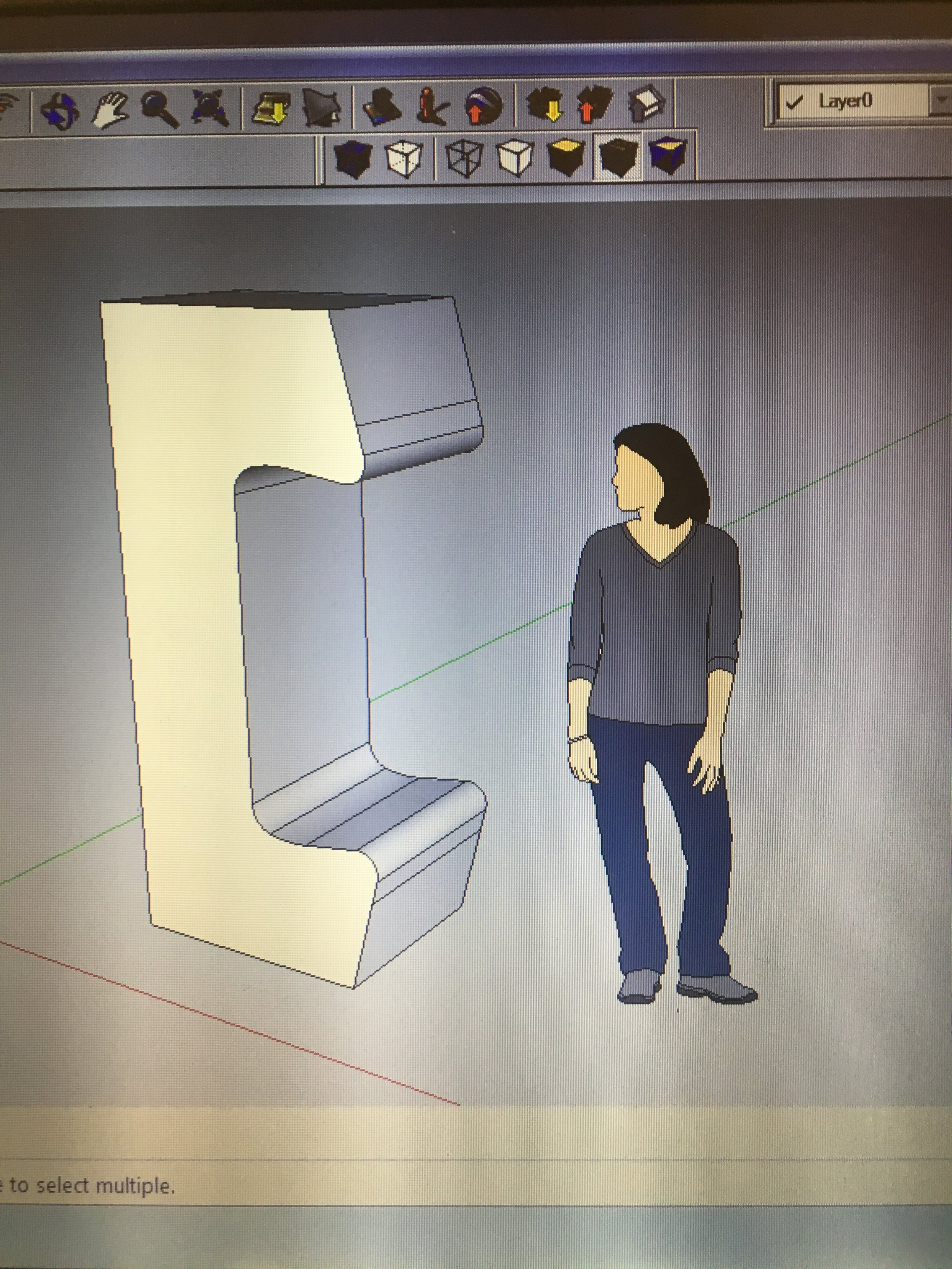 Human for scale in CAD model.