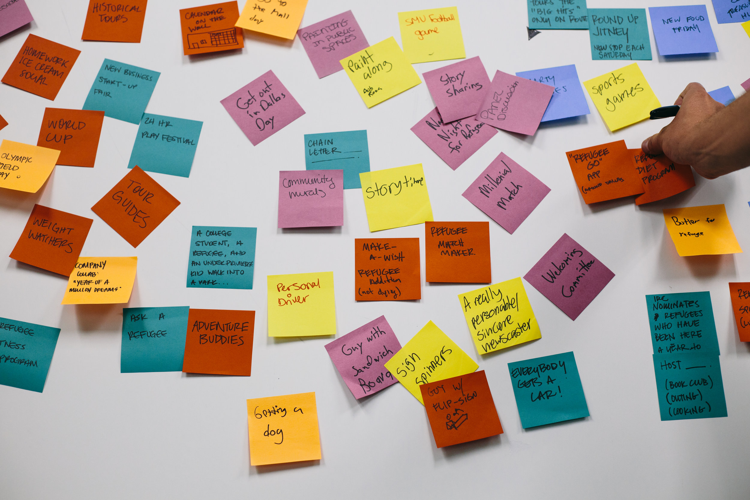 A glimpse into the ideation process that begins a cycle of quickfire prototyping, reflection, and synthesis that leads to the development of a rich and deeply impactful solution.