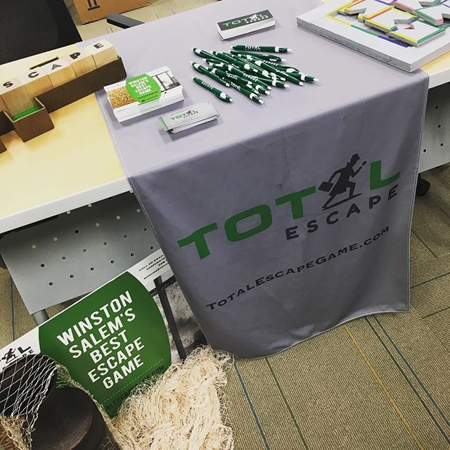 Setting up our table at @lowesfoods #healthfair this morning! Excited to meet more puzzle loving people. #escaperoom  #escapegame #wsnc